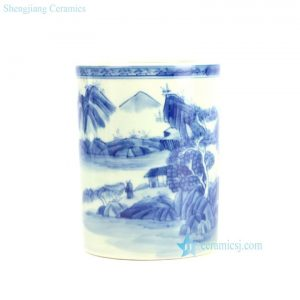 RYZN01-B Hand paint blue and white tubular ceramic pen pot
