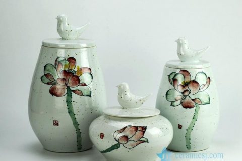 RYZW04 Bird knob earthenware clay material hand paint lotus pattern ceramic jar sets