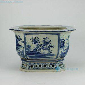 RZAJ08-old Hand paint floral pattern 8 sides Asian porcelain antique flower pot