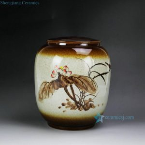 RZAR31 High temperature flambe glazed rough clay hand paint lotus pattern flat lidded brown chinaware jar