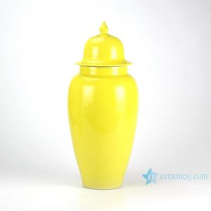 RZBF08 Lemon solid color glazed slim ceramic temple jar