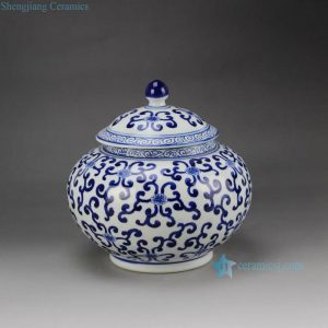 RZBG08-B Hand paint elegant round belly blue and white chinese porcelain jar with lid