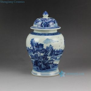RZCC02 Antique hand paint landscape pattern chinese porcelain tea container