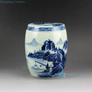 RZCC03 Hand paint blue and white landscape pattern antique ceramic jar