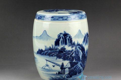 RZCC03 Hand paint blue and white landscape pattern antique ceramic jar