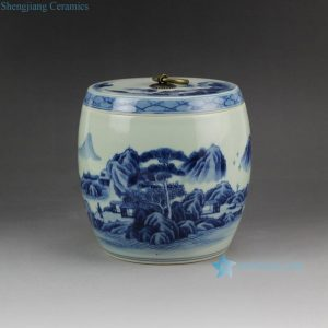 RZCC05 Hand paint landscape pattern blue and white ceramic tiny jar