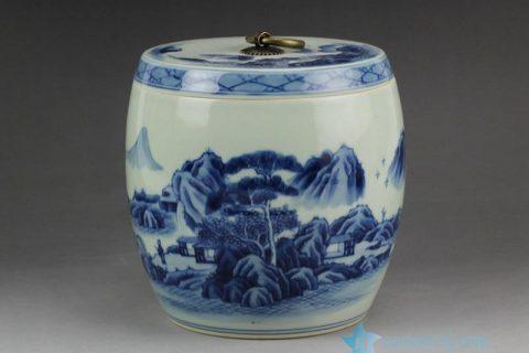 RZCC05 Hand paint landscape pattern blue and white ceramic tiny jar