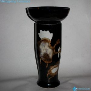 RZCE07-B Bowl pedestal style white lotus engraved black ceramic wash hand rinse sink
