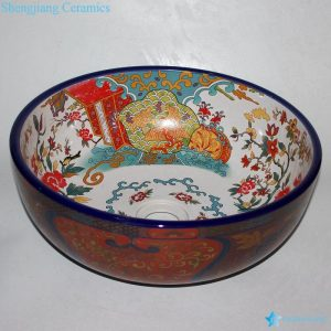 RZCE08 Japanese style deluxe round counter top ceramic sink bowl