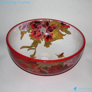 RZCE09 Cheap price Peony flower pattern China red round cabinet top ceramic sink lavabo