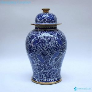 RZCM09 Golden line plated hand paint blue and white floral pattern ceramic ginger jar