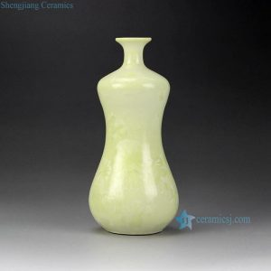 RZCU11 crystal glazed cream color small flower vase