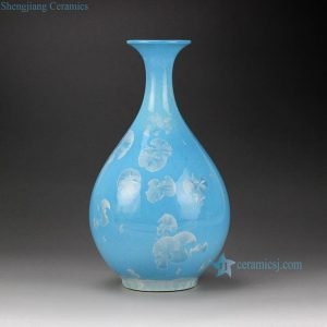RZCU12 Crystal glaze blue ceramic flower vase