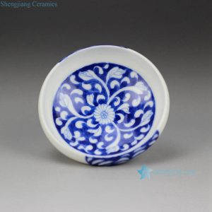 RZDW20 Oriental style hand paint blue and white floral pattern round ceramic tea cup