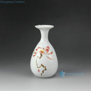 RZEA01-I Matte white finish hand paint red lotus pattern ceramic mini flower vase
