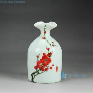 RZEA01-L Red plum blossom hand paint pattern floral top of bottle ceramic cheap vase