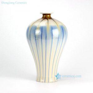RZEK02-B Transitional sky blue stripe short neck pottery vase