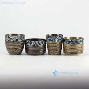 RZEN01-B hobbing cutter texture blue and white clay tea cups