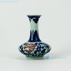 RZEV01-C Hand paint blue and white under-glaze red floral pattern antique chinese porcelain small vase