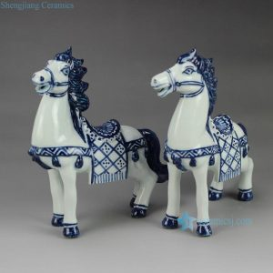 RZEW02 Hand painted blue and white ceramic horse sculpture
