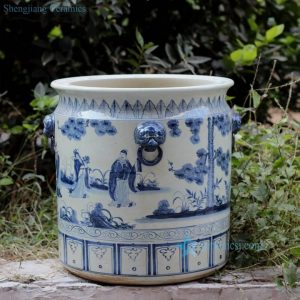 RZFH02-B Hand paint blue and white the eight immortals pattern lion head handle porcelain big vat