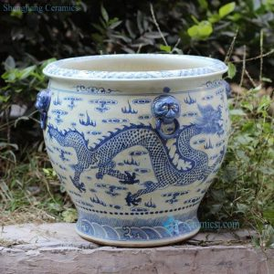 RZFH03-C Hand paint blue and white flying dragon pattern wholesale ceramic large garden pots