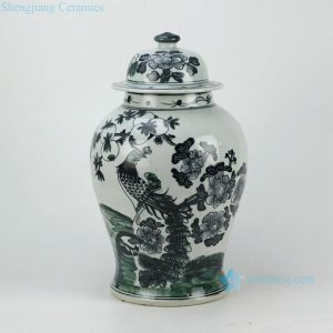 RZFI05-BLACK Hand paint phoenix pattern black ceramic ginger jar