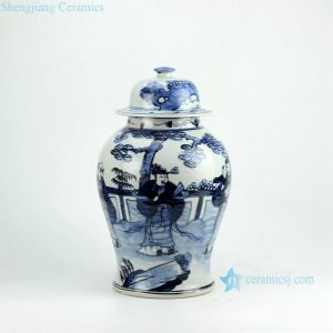 RZFI05-B Hand paint chinese ancient folk pattern blue and white ceramic ginger jar
