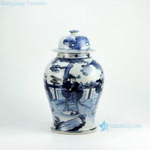 RZFI05-B Hand paint chinese ancient folk pattern blue and white ceramic ginger jar