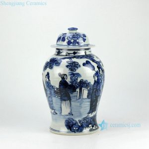 RZFI05-C Hand paint ancient ladies pattern blue and white ceramic chinese jars antique