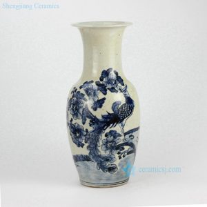 RZFI06-B Rough clay hand paint blue and white vintage porcelain vase