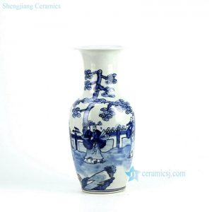 RZFI06 Hand paint blue and white ancient Chinese figure pattern medium size ceramic vase