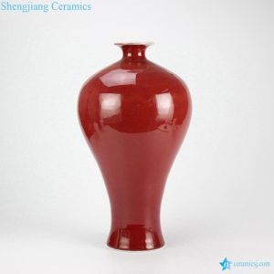 RZFJ03 Solid color glazed oxblood tall and slender transitional porcelain Meiping vase