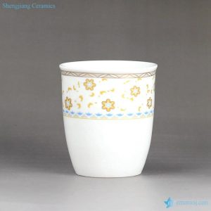 RZFS02-B Daily use golden floral pattern ceramic tea cup