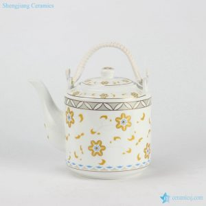 RZFS02 Home daily use golden floral pattern high temperature fired white porcelain large tea pot with double hoop handle