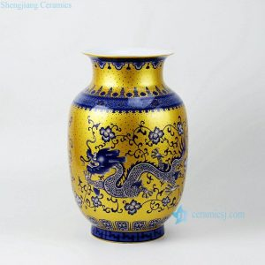 RZFT01 Thick neck wide mouth swell gold point blue white dragon pattern ceramic oriental vases