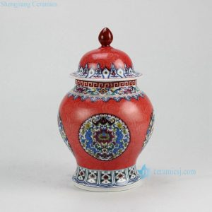 RZFT02 China red ceramic candle knob lid jar