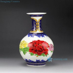 RZFT03 Peony flower pattern wealth and honor moral colorful ceramic wholesale vase