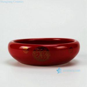 RZFV01 China red glaze golden happiness mark shallow ceramic rinse pot
