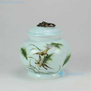 RZFX01 Celadon glazed metal ring knob lidded porcelain tea jar