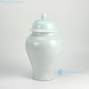 RZFX02 Underglaze interlock lotus pattern carved celadon ceramic ginger jar