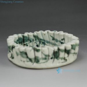 RZFZ-B-04 Handicraft pleated green free hand brushwork pattern originality ceramic tray
