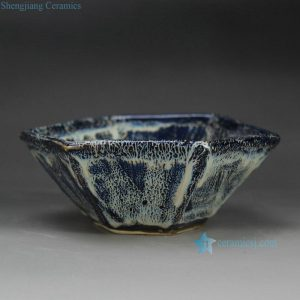 RZFZ-B-05 Flambe kiln glaze hexahedral ceramic serving dish