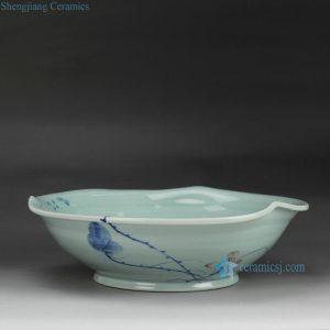 RZFZ-B-10 Hand paint lotus pattern ceramic big fruit bowl handmade