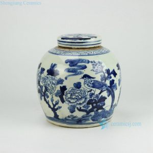 RZFZ01-A Reproduction hand paint bird floral pattern antique lidded jar