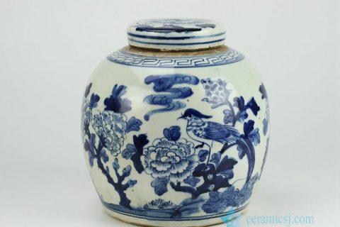 RZFZ01-A Reproduction hand paint bird floral pattern antique lidded jar