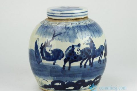 RZFZ01-B Hand paint blue and white horse pattern lidded urn