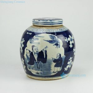 RZFZ01-D Hand paint chinese ancient folk pattern flat lid round ceramic jar antique finish