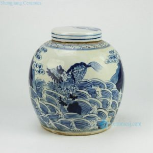 RZFZ01-E Flat lid hand paint sea wave dragon pattern blue and white antique ceramic storage jar
