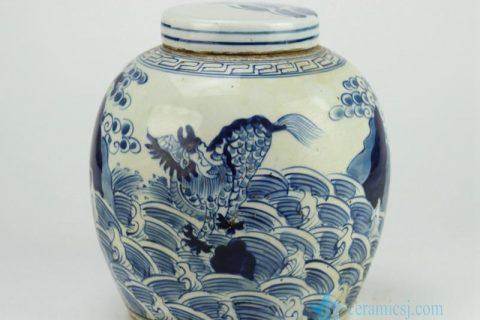 RZFZ01-E Flat lid hand paint sea wave dragon pattern blue and white antique ceramic storage jar